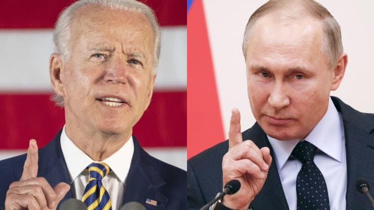 Side by side of U.S. President Joe Biden and Russian President Vladamir Putin