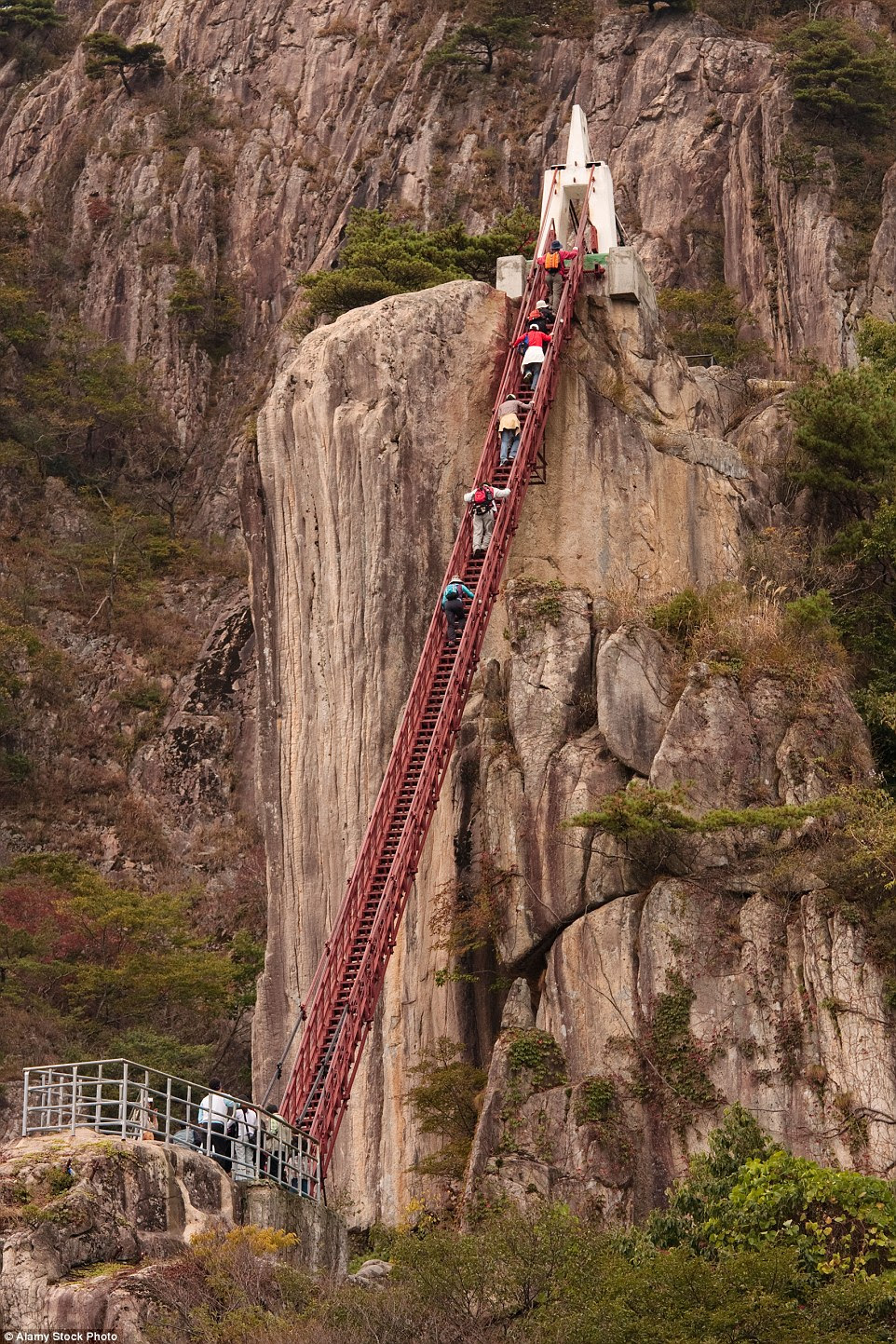 Suspended                                                      above the massive                                                      and foreboding                                                      ravines in                                                      Daedunsan                                                      Provincial Park in                                                      South Korea, the                                                      visitor bridges                                                      and ladder-like                                                      walkways make for                                                      an                                                      adreneline-filled                                                      experience