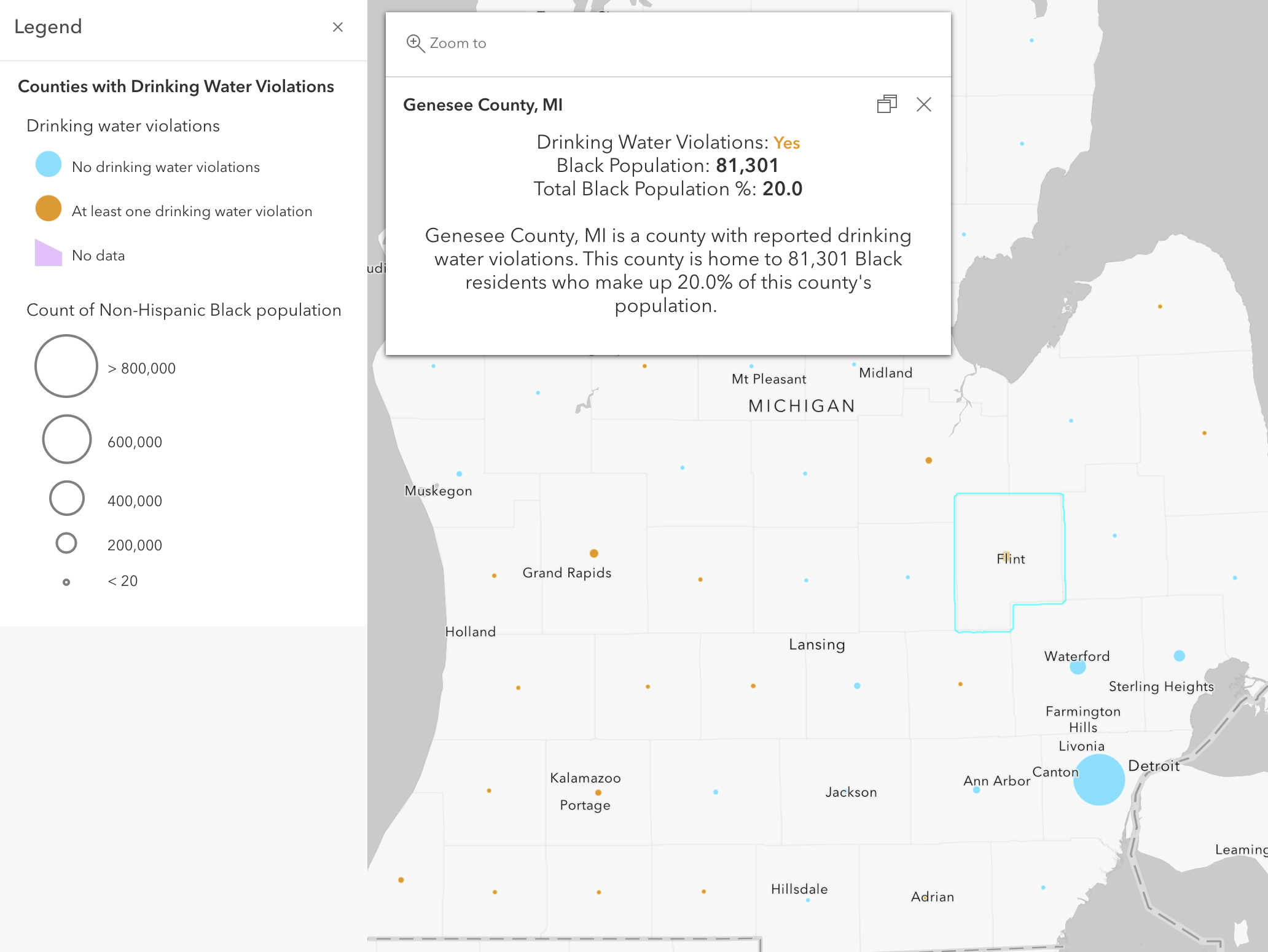 Where are Black populations impacted by drinking water violations?