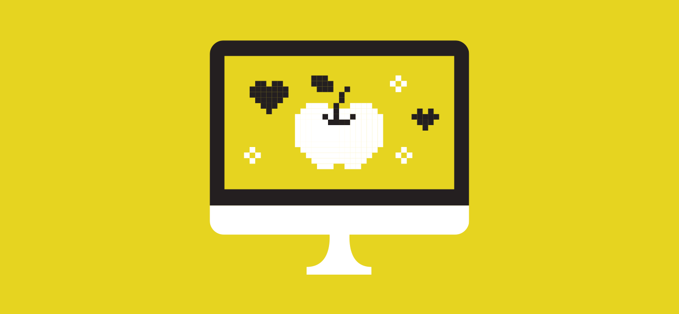 A computer screen with a pixelated apple and hearts