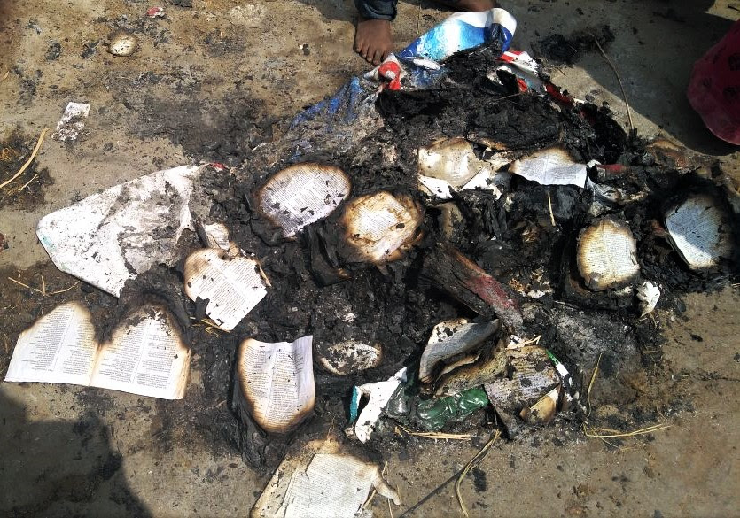 Hindu extremists burn Bibles outside building of church attacked in Sikandar Chavadi, Tamil Nadu, India. (Morning Star News)