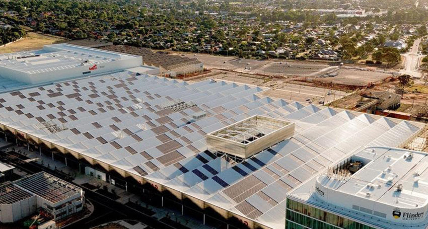 First panels have been installed at one of Australia's largest rooftop solar arrays in Adelaide.
