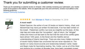 Amazon nixes positive review of The Palestinian Delusion, claims it violates its guidelines