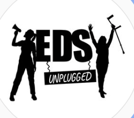 A Logo showing two people; one with a loud speaker and one with a crutch. Words: EDS unplugged