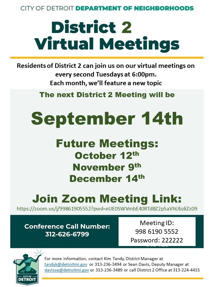 District 2 Virtual Meeting, Tuesday, September 14, 2021