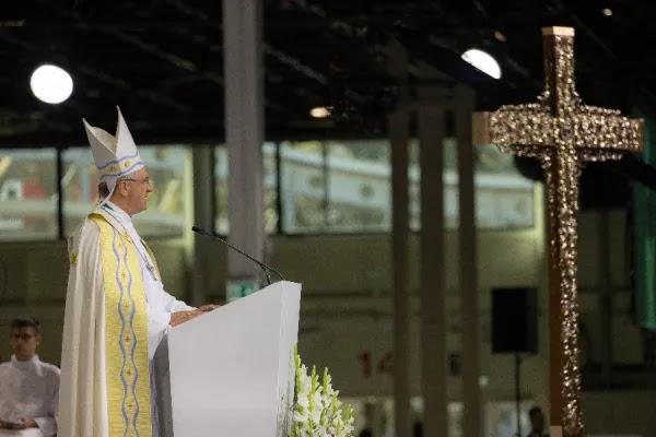 Morning prayer at the International Eucharistic Congress in Budapest, Hungary, Sept. 7, 2021. Daniel Ibáñez/CNA.