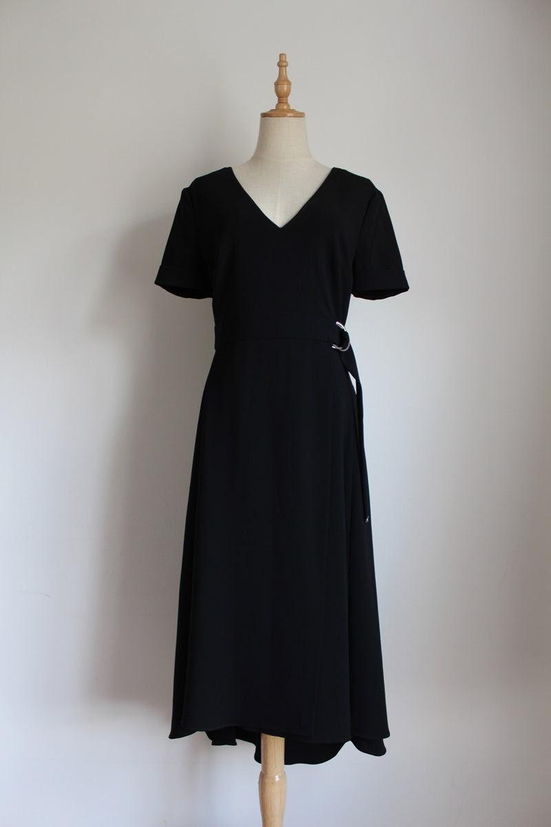 KAREN MILLEN DESIGNER BLACK COCKTAIL DRESS - SIZE 8
