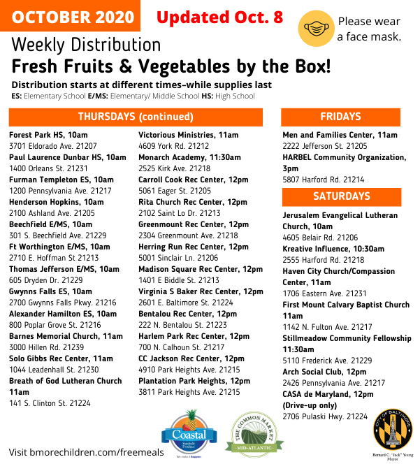 October Produce Box Schedule Continued