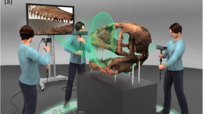 Scan d'un crâne de T-rex avec un dispositif Kinect