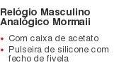 Relógio Masculino Analógico Mormaii Com caixa de acetato Pulseira de silicone com fecho de fivela