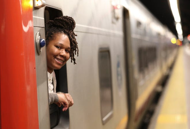 Alainia Tucker, a third-generation MTA-Metro North conductor, photographed in a train in Grand Central Terminal on Friday, February 12, 2021.