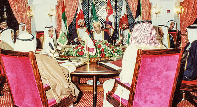 GCC foreign ministers meet on the sidelines of the 10th GCC Summit in Muscat, Oman. Photo: Dr. John Duke Anthony, 1989.