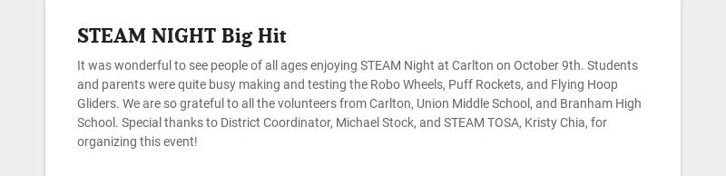 STEAM NIGHT Big Hit It was wonderful to see people of all ages enjoying STEAM Night at Carlton on...