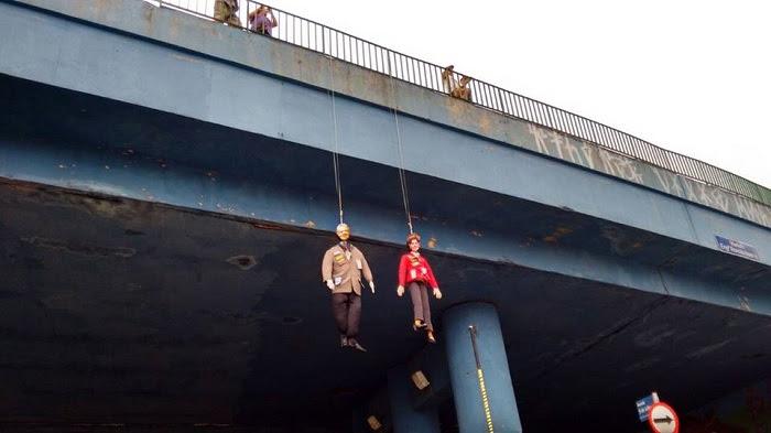 Muñecos de Dilma y Lula ahorcados