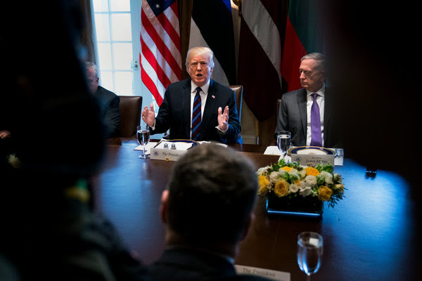 """President Trump and Defense Secretary Jim Mattis at the White House on Tuesday after Mr. Trump's third consecutive day of tweeting about America's """"weak"""" border laws."""