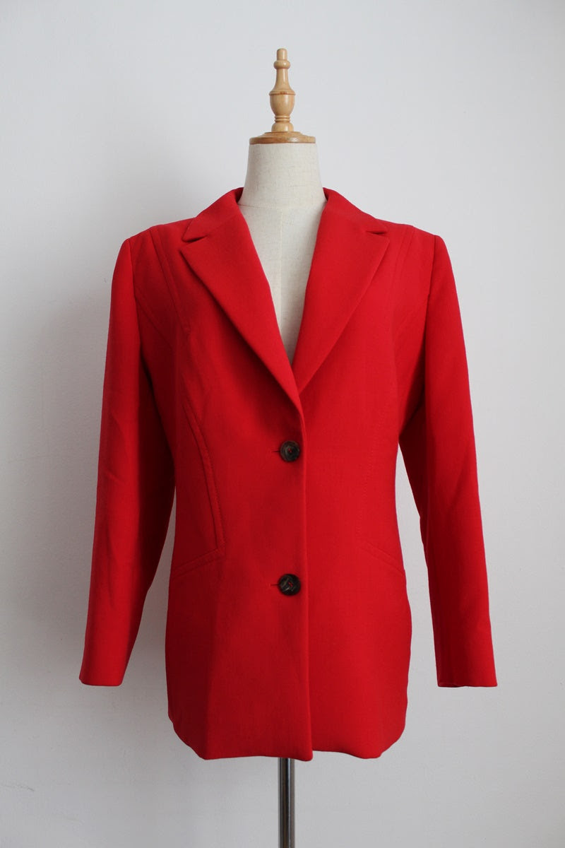 LAUREL DESIGNER VINTAGE RED JACKET - SIZE 14