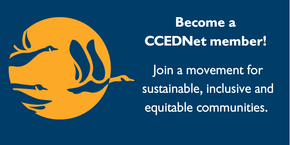 """CCEDNet logo with text: """"Become a CCEDNet member! Join a movement for sustainable, inclusive and equitable communities"""""""