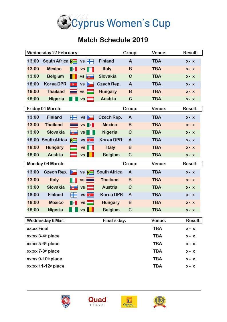 Cyprus Women's Cup fixtures