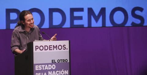 """El secretario general de Podemos, Pablo Iglesias, durante su intervención en """"El otro estado de la nación"""", en contraposición con el debate sobre el estado de la nación celebrado hoy en el Congreso de los Diputados, un acto realizado por el partido esta t"""