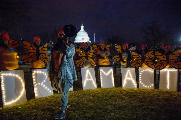Protesters who support protections for young immigrants demonstrated near the Capitol on Sunday evening.