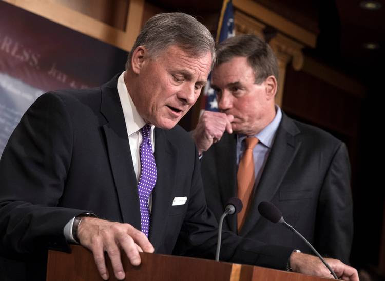 Senate Select Committee on Intelligence Chairman Richard Burr, R-N.C., and Vice Chairman Mark Warner update reporters on committee's Russia probe. (J. Scott Applewhite/AP)