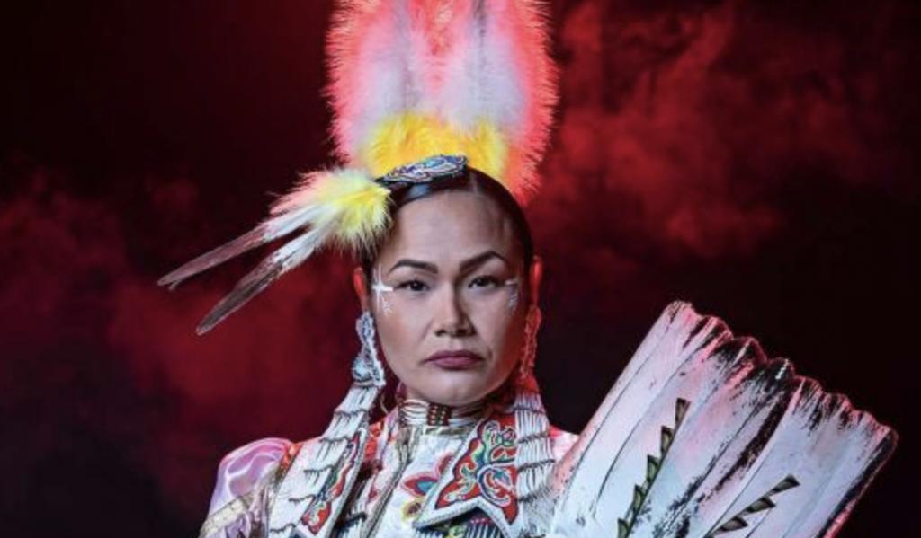 Acosia Red Elk is an Umatilla woman, champion Jingle dancer and pow wow yoga teacher.