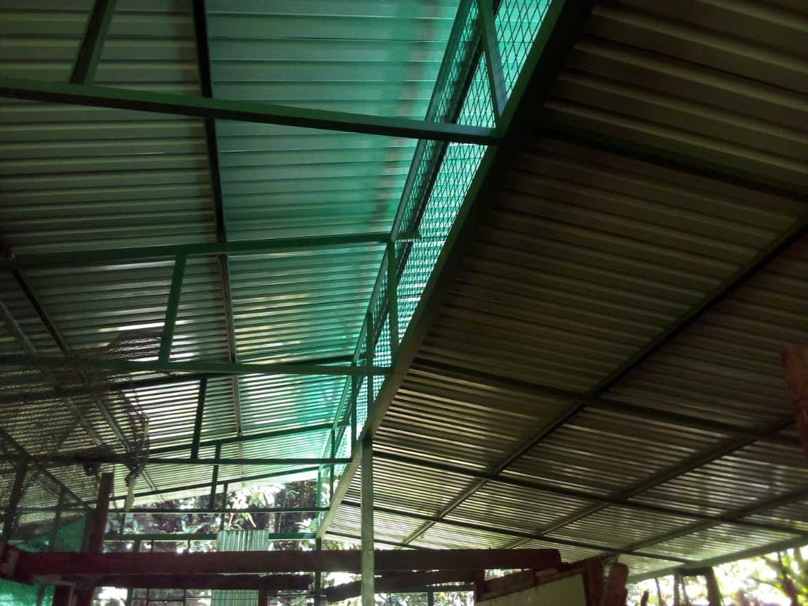 View of the roof from the inside of the new learning center