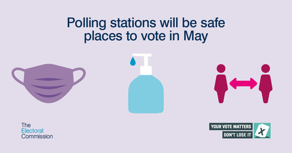 Image of mask, hand sanitiser and social distance with the words polling stations will be safe places to vote in May