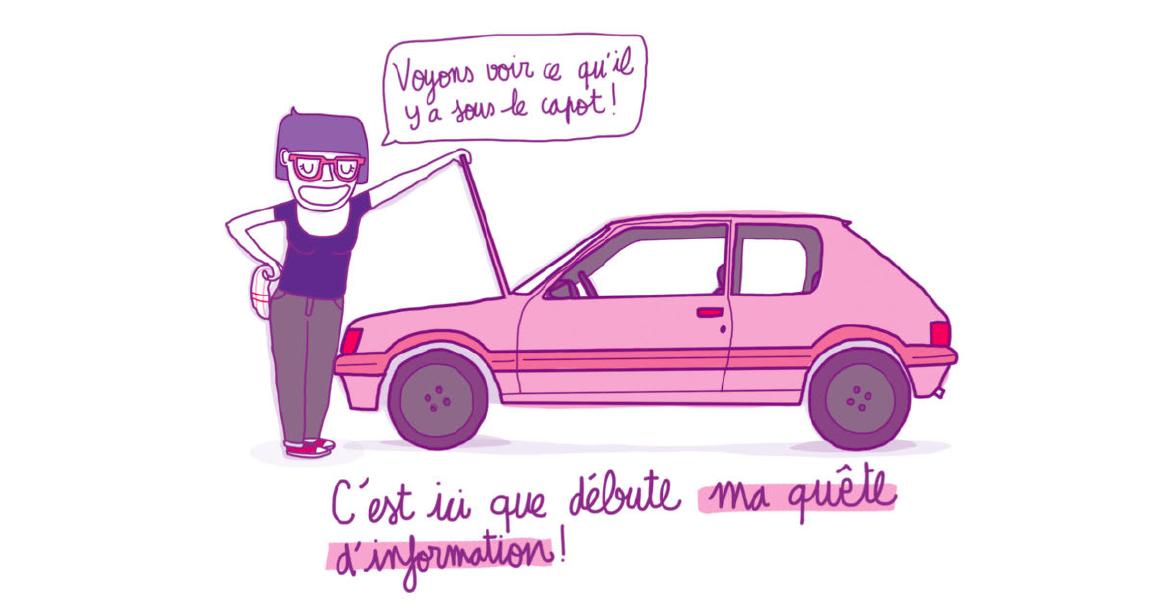 """Illustration de Lili Sohn, représentant un personnage féminin qui ouvre le capot d'une voiture. Elle dit """"Voyons voir ce qu'il y a sous le capot !"""" En écriture manuscrite, sous l'illustration, la narratrice dit """"c'est ici que débute ma quête d'information !"""""""