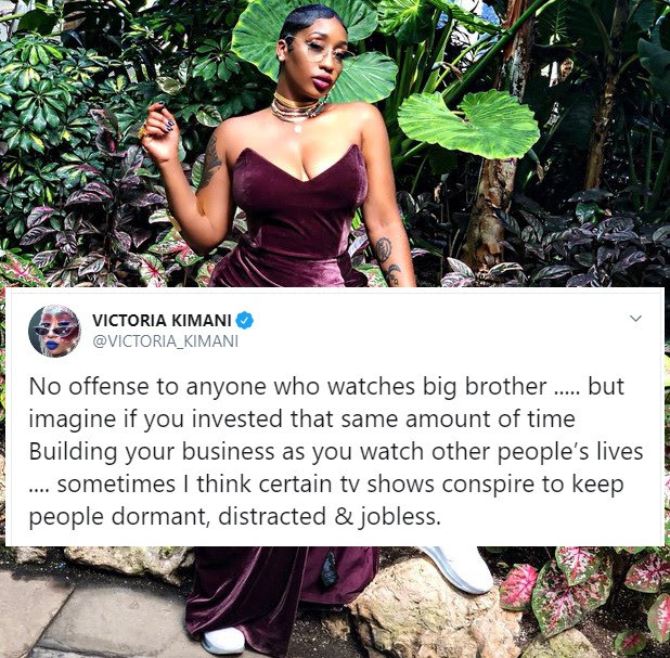 Victoria Kimani comes under fire for saying Big Brother Naija keeps people