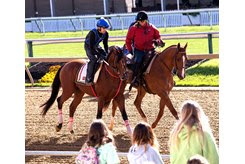 Bodexpress takes to the track May 15 as young fans watch morning training at Pimlico Race Course