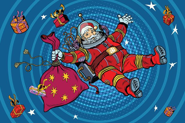 Space Santa Claus in zero gravity