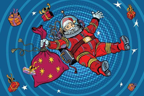 Space Santa Claus in zero gravity