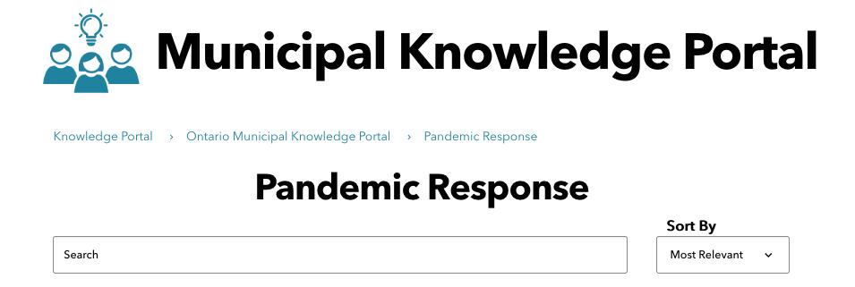 Municipal Knowledge Portal: Pandemic Response