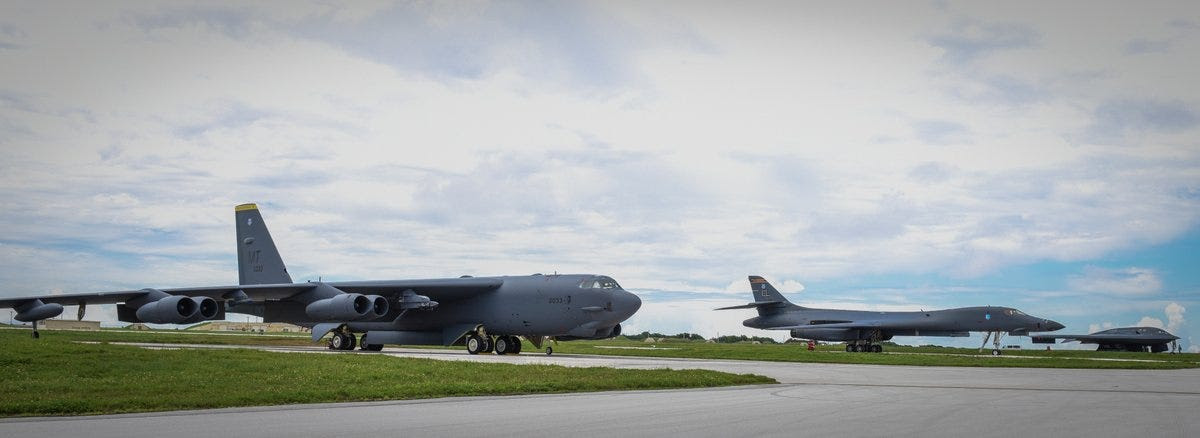 Here's the US's entire strategic bomber force lined up in Guam, representing more than 60 years bomber dominance.