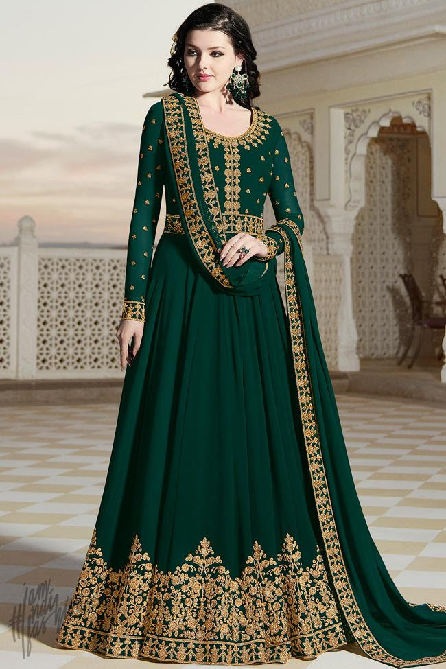 Bottle Green Georgette Party Wear Anarkali Suit
