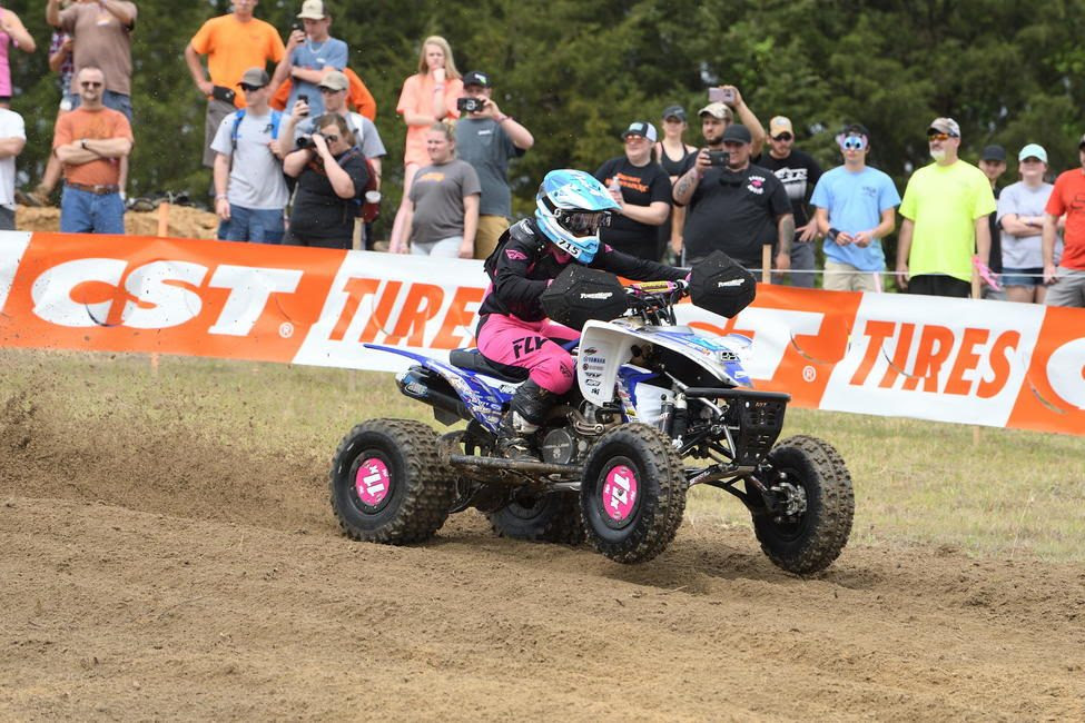 Traci Pickens jumped out to earn the holeshot at the Camp Coker Bullet GNCC.