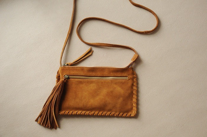 Genuine Suede Leather Fringed Chic Boho Shoulder Folk Bag