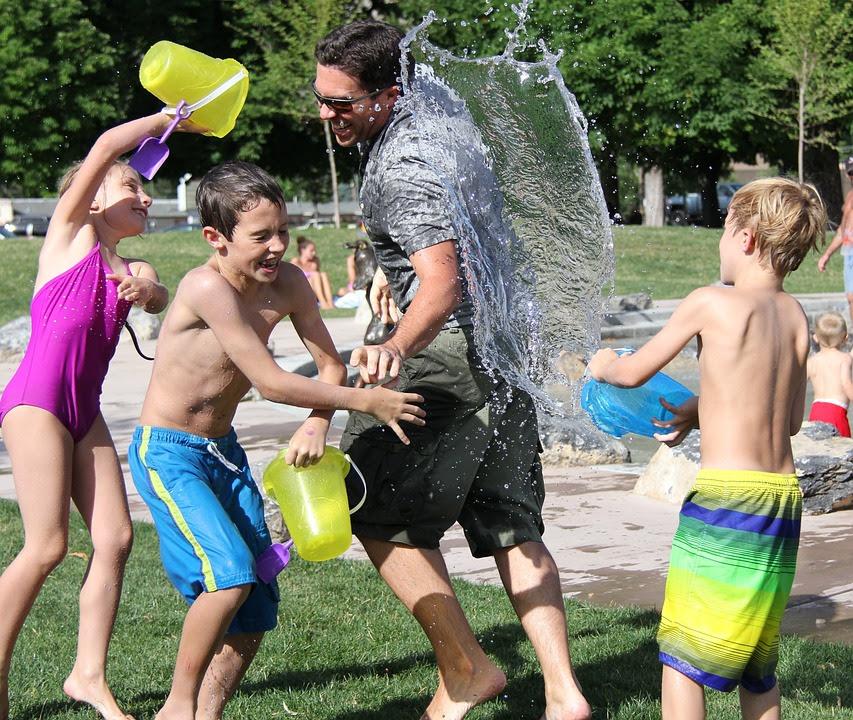 Guerra De Água, Crianças, Água, Jogar, Criança, Verão