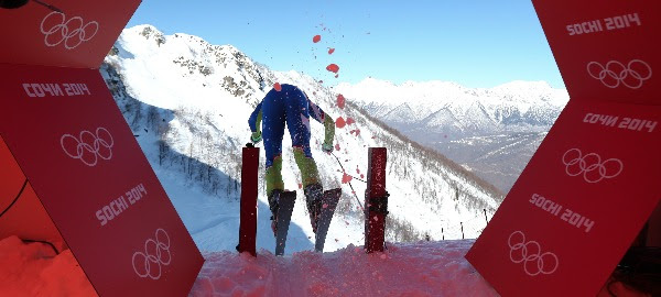 Image: Slovenia's Klemen Kosi kicks off from the start hut in a men's downhill training run for the 2014 Winter Olympics, Thursday, Feb. 6, 2014, in Krasnaya Polyana, Russia.