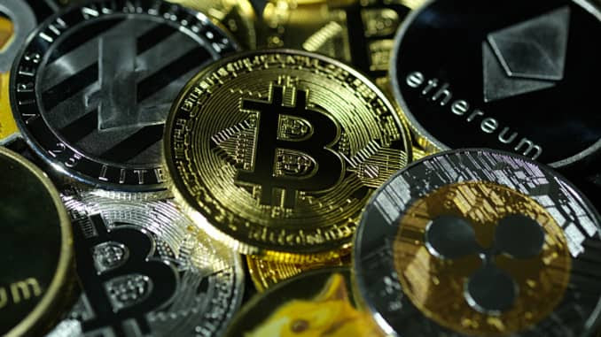 Uma representação visual de moedas digitais.