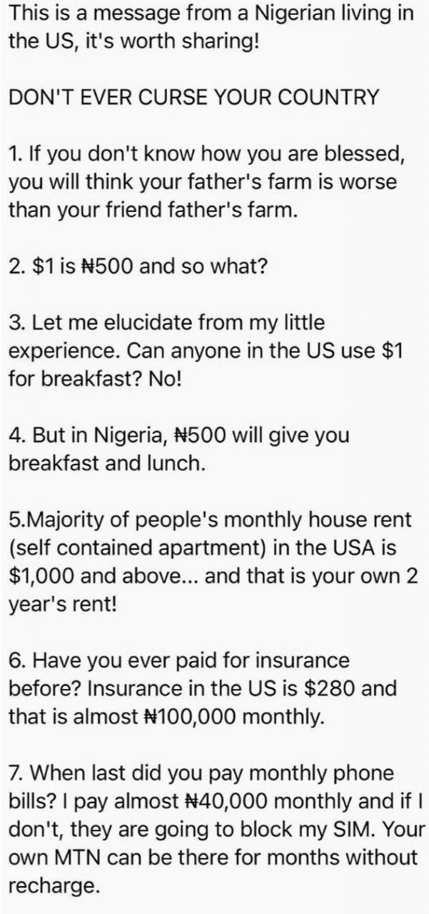 Trending message to Nigerians from a Nigerian living in the US sparks conversation