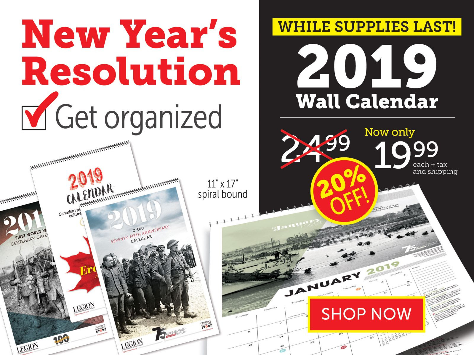 2019 Wall Calendars now 20% OFF!