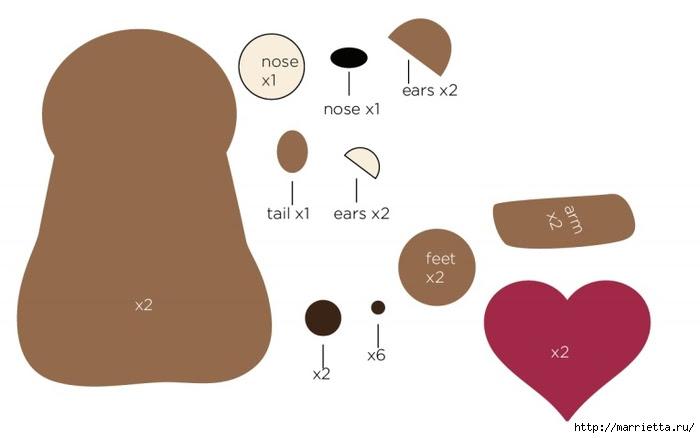 Mackó Valentin nemezből készült. Sablonok (3) (700x438, 69Kb)