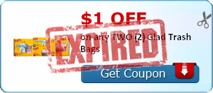 $1.00 off on any TWO (2) Glad Trash Bags