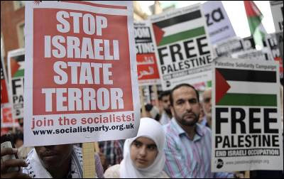 Manifestación en contra de Israel celebrada en en Londres el 22 de julio.