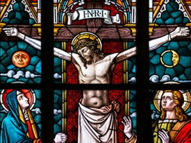 Stained glass of Jesus on the cross