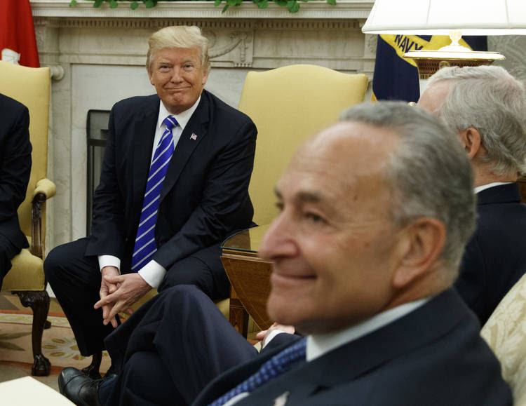 Donald Trump and Chuck Schumer participate in a meeting with other congressional leaders in the Oval Office. (Evan Vucci/AP)