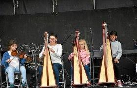 Les élèves de l'école de musique (ici les élèves harpistes d'Anne Postic) ont enfin pu regoûter à la scène.