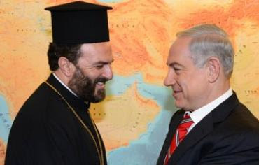 Prime Minister Binyamin Netanyahu meets Father Gabriel Nadaf, August 5, 2013.